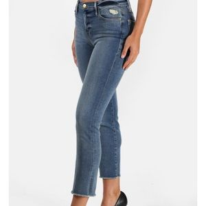 Frame Denim Le High Raw Hem Straight Leg Jeans